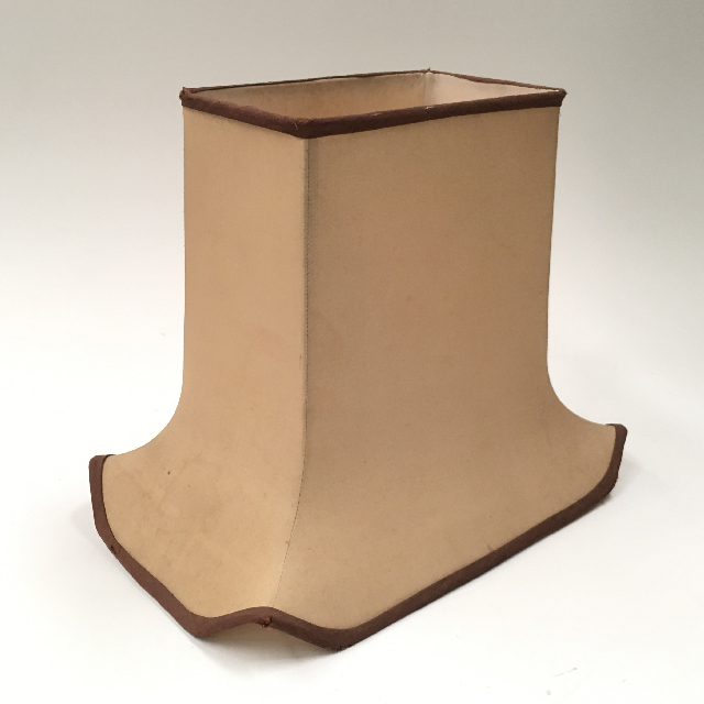 LAM1149 LAMPSHADE, Empire Style Square (Medium) - Beige w Brown Trim Flared Base $15