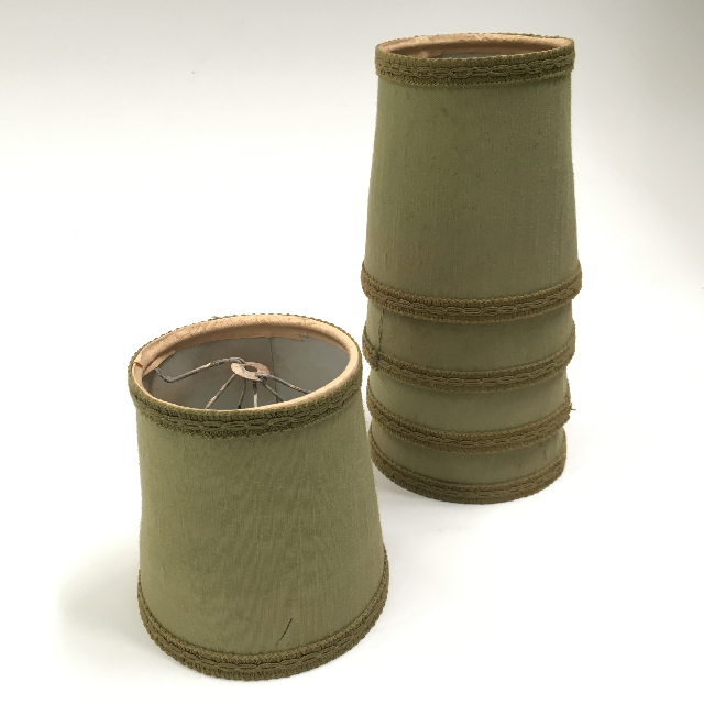 LAM0116 LAMPSHADE, Ex Small (Clip On) Olive Green w Braid - 10cm Base D x 11cm H $3.75