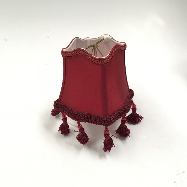 LAM1163 LAMPSHADE, Ex Small (Clip On) - Maroon Empire Style w Tassle $6.25