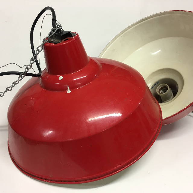 LAM0124 LAMPSHADE, Hanging Light - WIRED - Red Enamel (White Under) $20