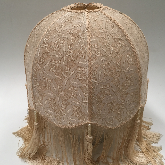 LAM0107 LAMPSHADE, Victorian (Large) - Cream Lace w Long Fringe $22.50