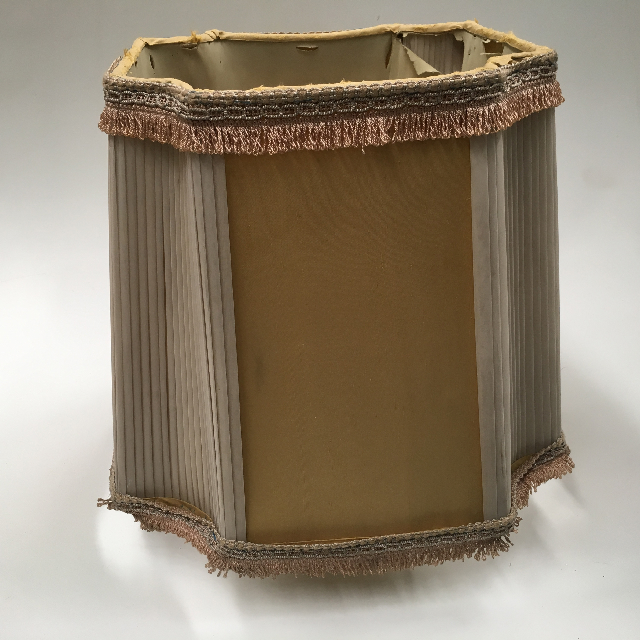 LAM1225 LAMPSHADE, Vintage (Large) - Deco style Mustard Grey Pleat $22.50