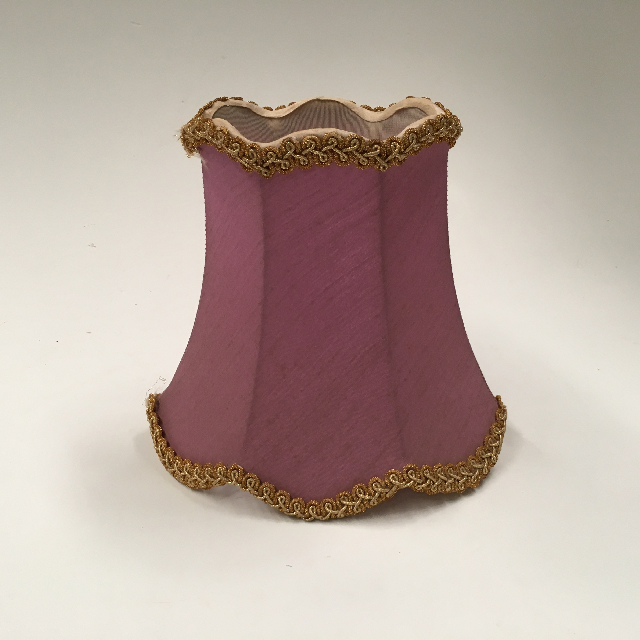 LAM1246 LAMPSHADE, Vintage (Small) - Lilac Mauve w Gold Trim $10