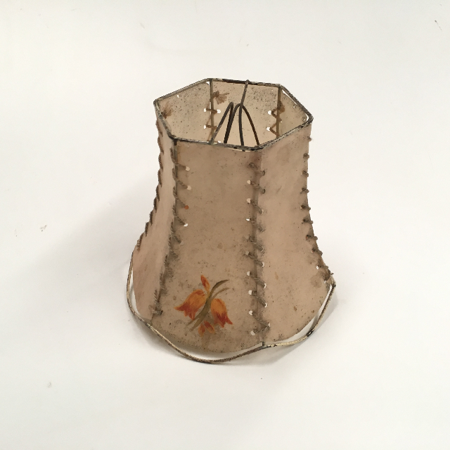 LAM1256 LAMPSHADE, Vintage (Small) - Vellum w Orange Butterfly $12.50