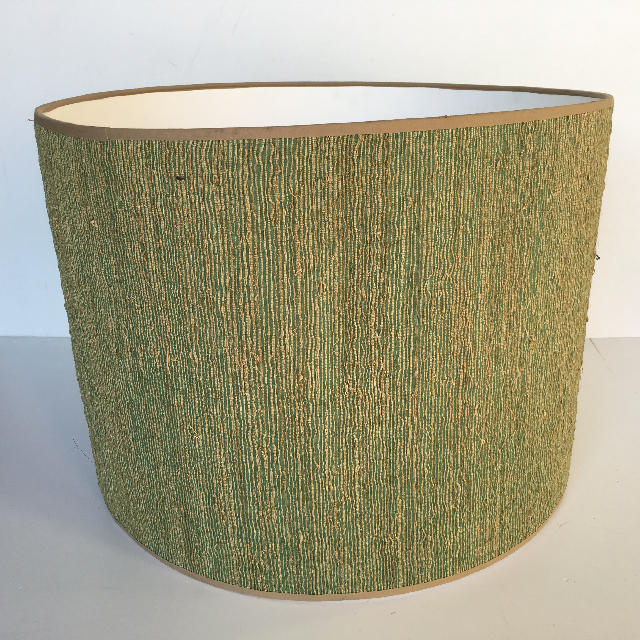 LAM0900 LAMPSHADE, 1950s 60s (Ex Large) Drum - Green Yellow Weave $18.75