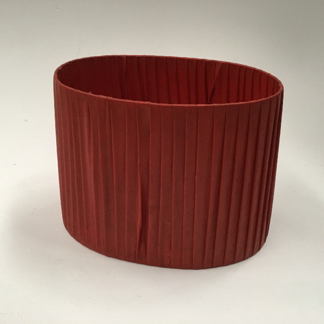 LAM0902 LAMPSHADE, 1950s Oval (Small) - Red Ribbon $12.50
