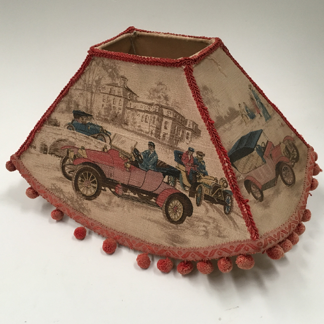LAM0905 LAMPSHADE, 1950s Wide Tapered w Car Street Scene and Bobble Fringe (Medium) $18.75