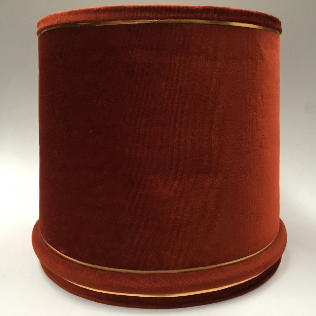 LAM0928 LAMPSHADE, 1960s 70s (Large) Rust Velvet Wide $18.75