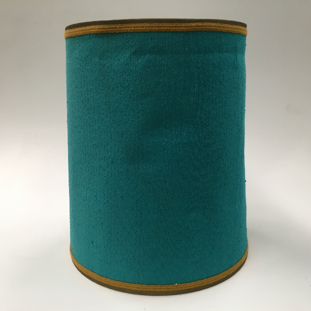 LAM0111 LAMPSHADE, 1960s 70s (Large) Turquoise Blue W Gold Braid $18.75