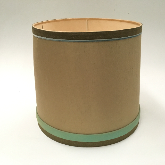 LAM0940 LAMPSHADE, 1960s 70s (Medium) Olive Green w Mint Blue Band $12.50