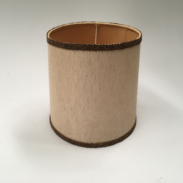 LAM0945 LAMPSHADE, 1960s 70s (Small) - Natural Beige w Brown Trim $10
