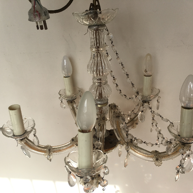 LIG0120 LIGHT, Hanging Chandelier (Style 3) - Glass Gold 5 Arm $30
