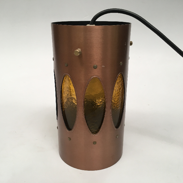 LAM0112 LAMPSHADE, Hanging 1970s Copper w Yellow Glass $18.75