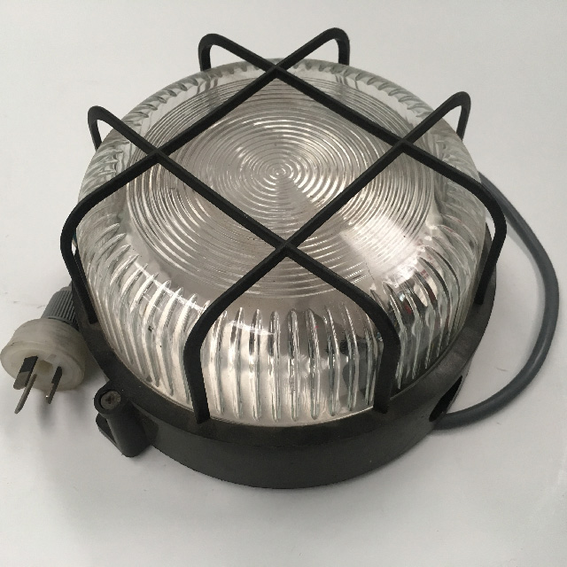 LIG0132 LIGHT, Outdoor - Round Bunker Light w Cage (wired) $22.50
