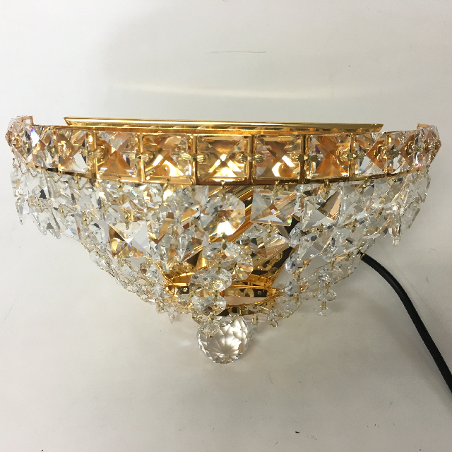LIG0145 LIGHT, Wall Sconce - Half Moon Gold w Large Crystals (wired) $25