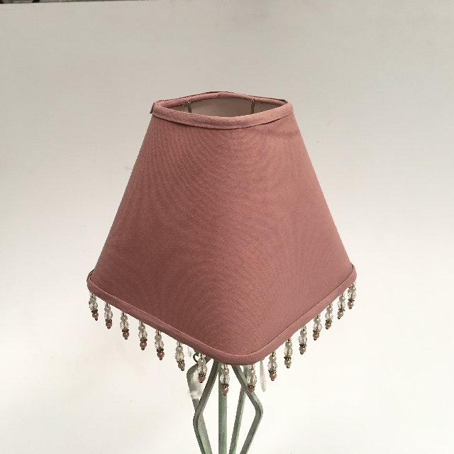 LAM1209 LAMPSHADE, Small Square Pink w Beads $6.25
