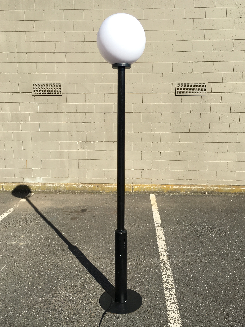 STR0102 STREET LAMP, Contemporary Straight Black Post with 40cm Ball Shade 2.4m H $100