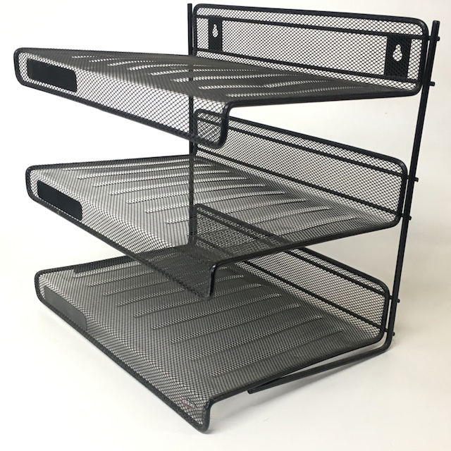 DOC0030 DOCUMENT TRAY or DESK ORGANISER, Black Mesh 3 Tier $6.25