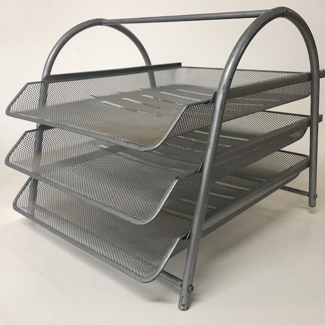 DOC0031 DOCUMENT TRAY or DESK ORGANISER, Silver Grey Mesh 3 Tier $6.25