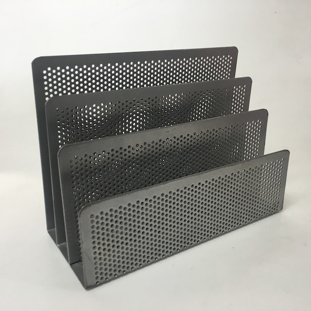DES0062 DESK ACCESSORY, Silver Grey Perforated Metal File Or Envelope Holder $2.50