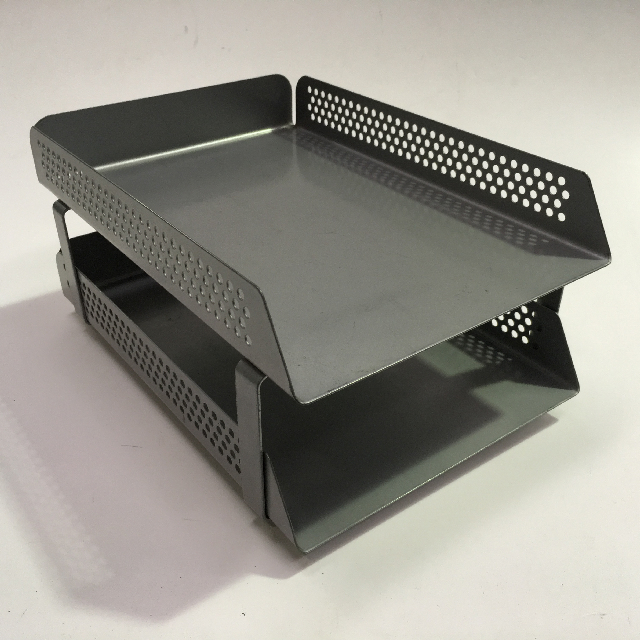 DOC0007 DOCUMENT TRAY, Grey Perforated Metal Double Tier $7.50