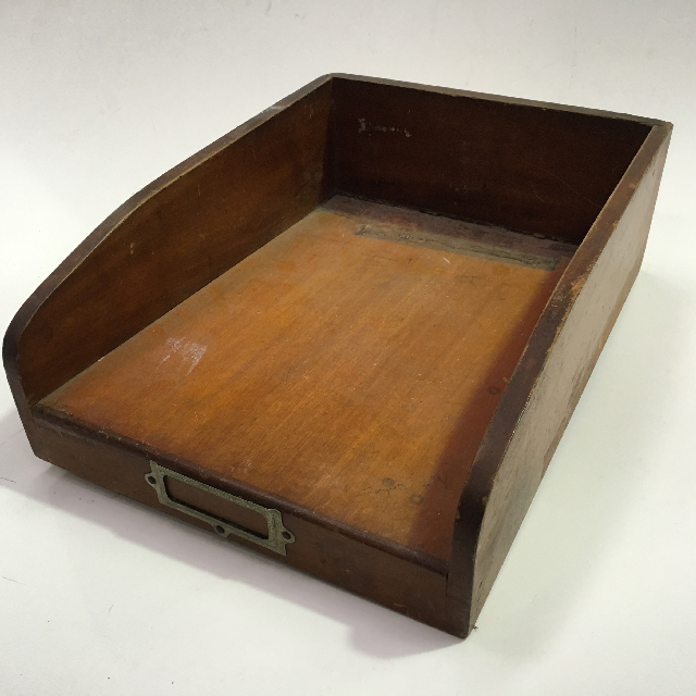DOC0011 DOCUMENT TRAY, Timber w Brass Label Plate $10