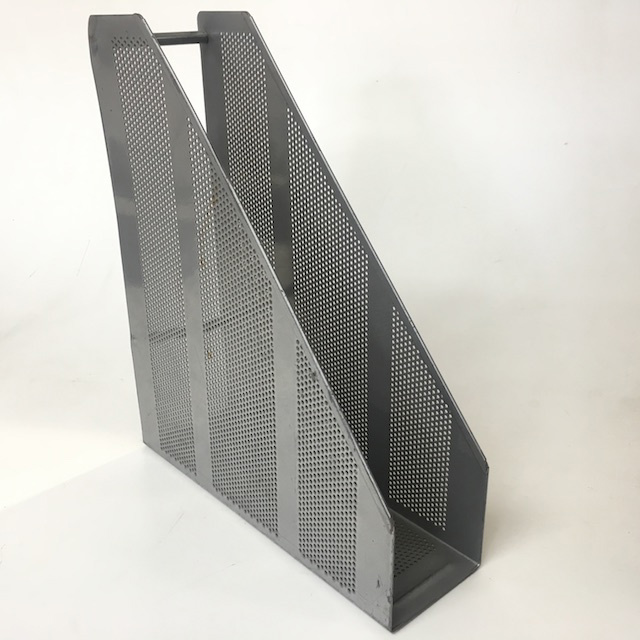 FIL0039 FILE HOLDER, Silver Grey Perforated Metal $3.75
