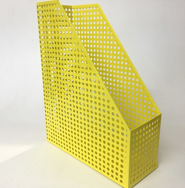 FIL0040 FILE HOLDER, Yellow Perforated Metal $3.75