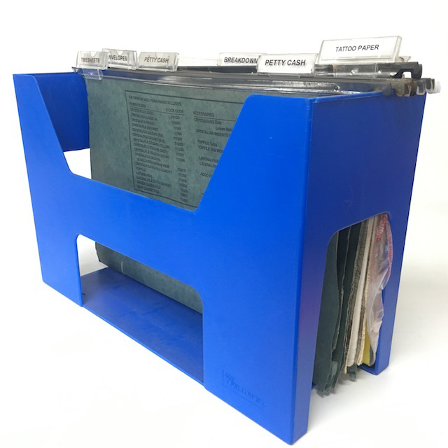 FIL0047 FILE ORGANISER, Blue Plastic w Files $6.25
