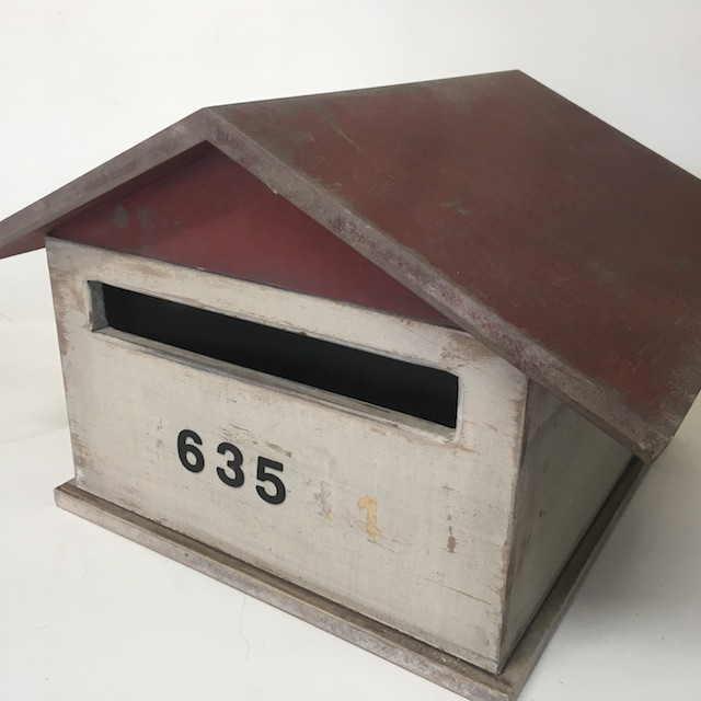 POS0103 POST BOX, Painted White w Brown Pitched Roof No. 635 $18.75