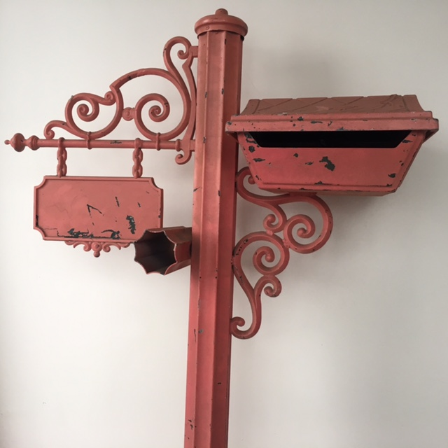 POS0069 POST BOX, Pink Wrought Iron on Post $30