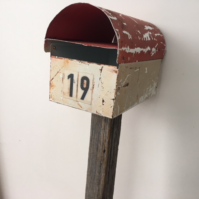 POS0071 POST BOX, Red & White Aged on Post No. 19 $22.50