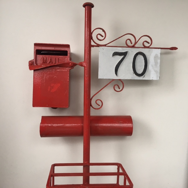 POS0072 POST BOX, Red Wrought Iron No. 70 $30