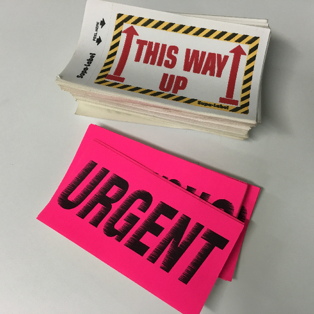 STA0206 STATIONERY, Post or Courier Sticker - Urgent / This Way Up $0.50