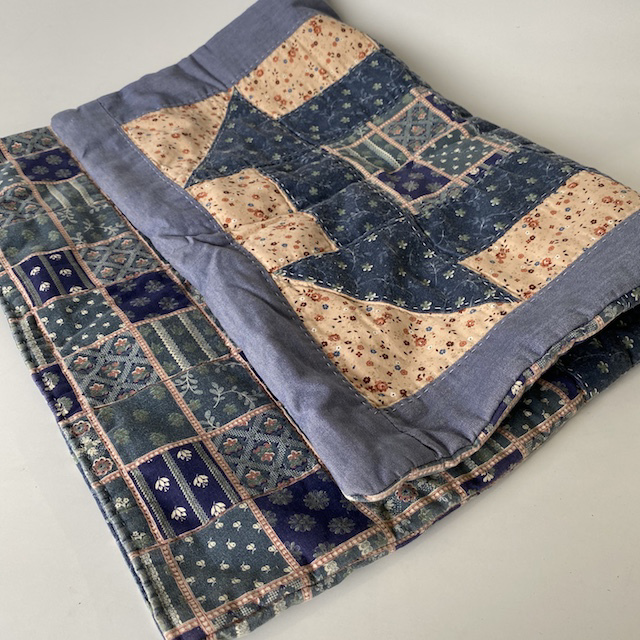 BAB0007 BABY BLANKET, Patchwork Quilt - Blue Cottage Craft $10