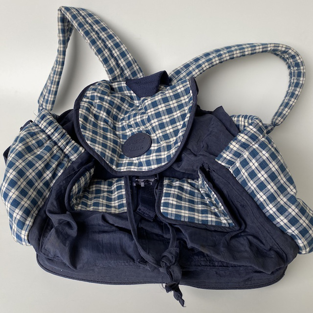 NUR0006 NURSING BAG, Navy Check Nappy Back Pack $5