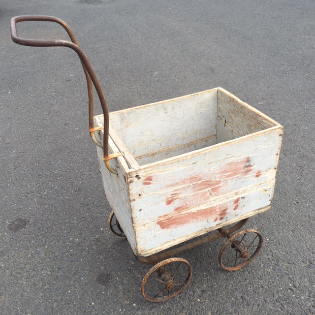 PRA0002 PRAM, Vintage White Box Cart - Aged White $37.50