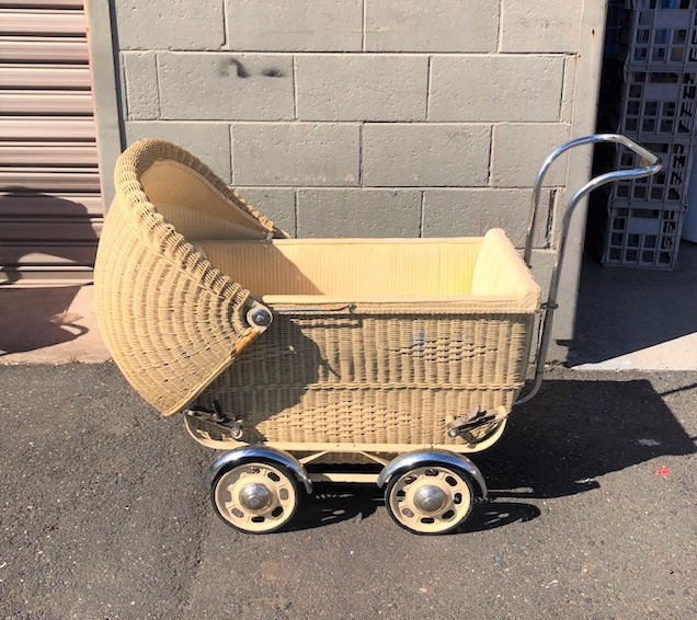 PRA0007 PRAM, Vintage Yellow Cream 1930's $62.50