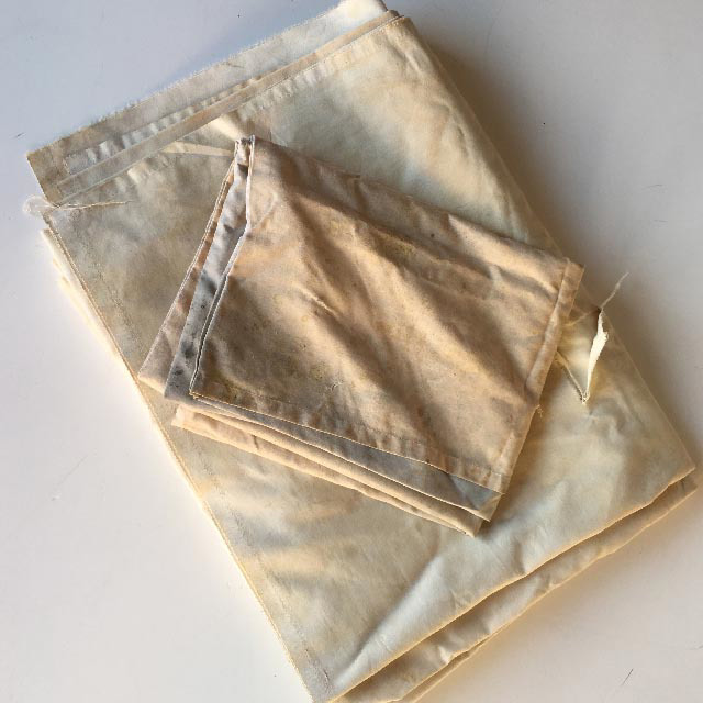 SHE0051 SHEET, Linen Cream Aged Stained $10 & PIL0012 PILLOWCASE, Cream Aged Stained $6.25