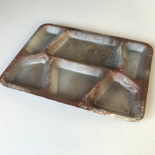 TRA0024 TRAY, Compartment Style - Aged and Rusted $8.75