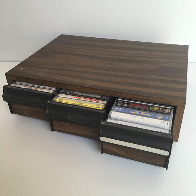 CAS0204 CASSETTE, HOLDER - 1970s Timber Veneer $15