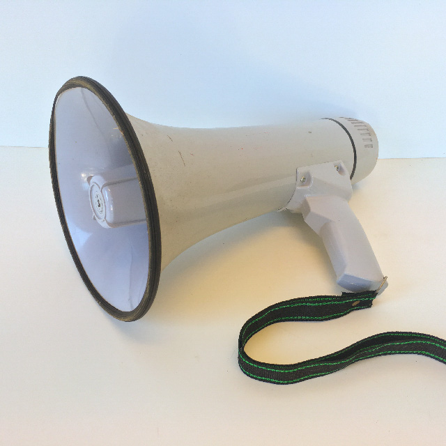 MEG0006 MEGAPHONE, Battery Operated - Grey & White $15