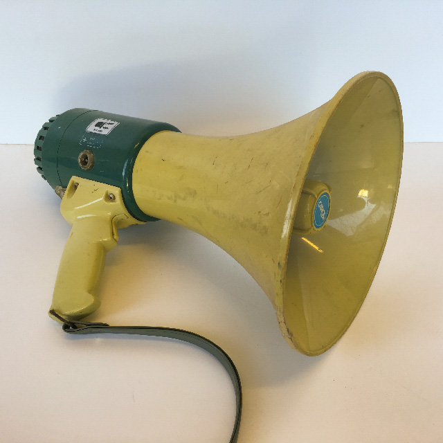 MEG0008 MEGAPHONE, Battery Operated - Teal & Cream $15