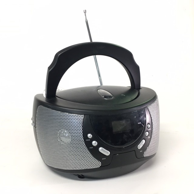 RAD0031 RADIO, Boombox - Small Round Black & Silver BASE $15