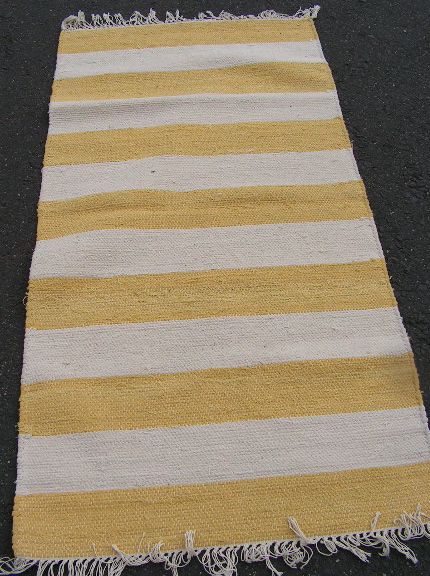 RUG0011 - RUNNER - Yellow & White Stripe 1.5m x 75cm $10