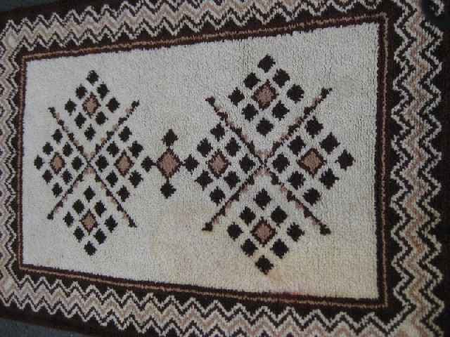 RUG0084 - Brown & Cream 1.6m x 1.1m $30