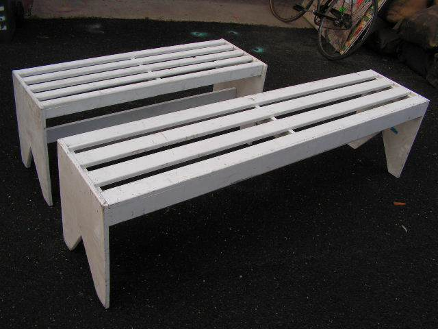 BENCH, Timber - White Slat 1.2m (BEN0104) Long Backless & 1.8m (BEN0105) $50