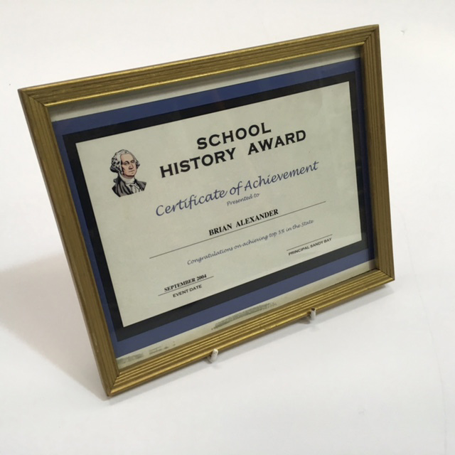 CER0025 CERTIFICATE, School Award - Certificate Of Achievement (Gold Frame) $7.50