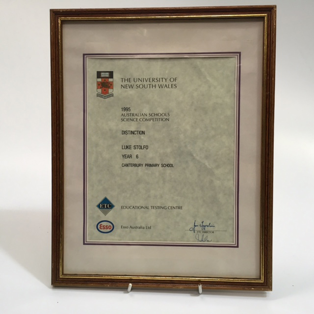 CER0031 CERTIFICATE, Uni NSW Science Competition $7.50