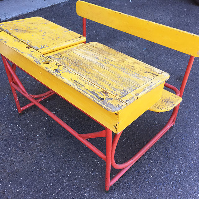 DES0017 DESK, Vintage Double Flip Top Desk - Yellow $37.50